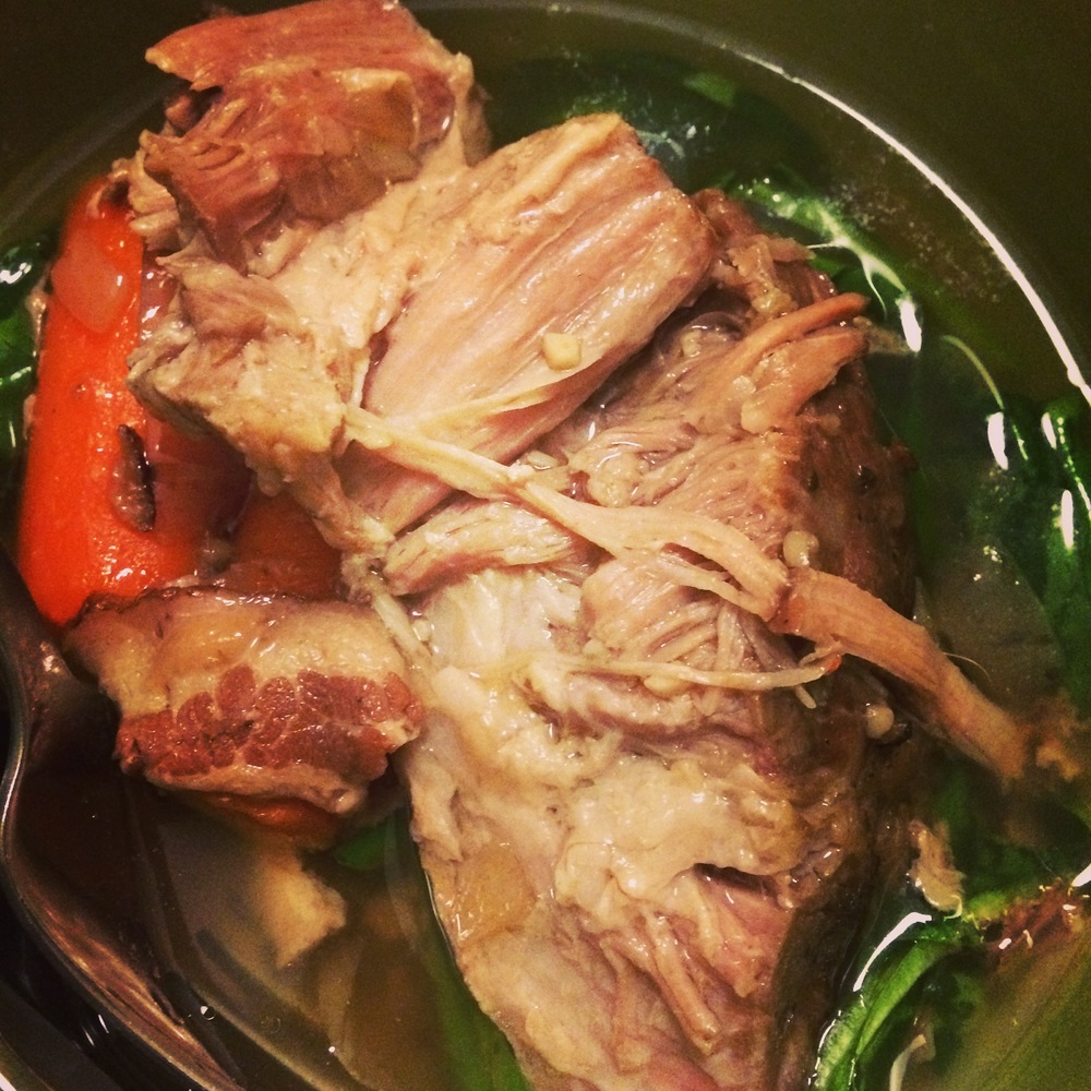 Pork shoulder made in the crockpot. I ate this all week and even shared with a friend!
