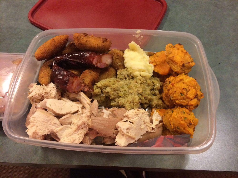 We used a tupperware to bring over appetizers for thanksgiving and since it was empty we were able to fill it with leftovers to take home.