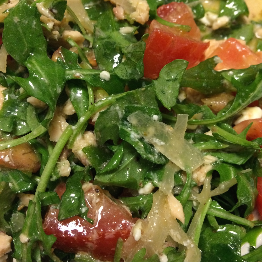 "a ""pauper"" dinner can still be satisfying! here is an up close shot of my typical GIANT - and delicious- salad. there is always  protein  on it or on the side"