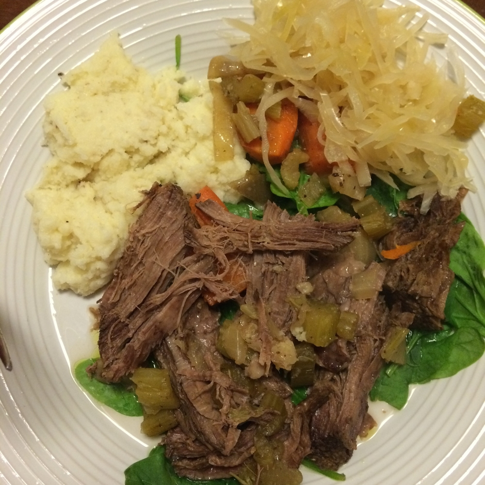 A post workout dinner might look like this: shredded slow cooked pork (protein) with cauliflower mash, carrots, kraut and spinach (all my carbs) with butter and olive oil (fat) on the veggies.