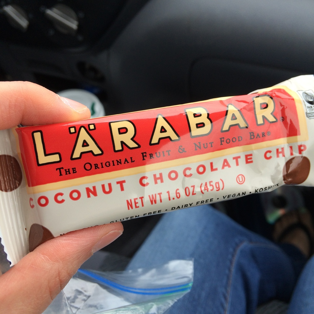 Coconut Chocolate Chip Larabar (a Target exclusive btw): Dates, semisweet chocolate chips, unsweetened coconut, cashews, almonds