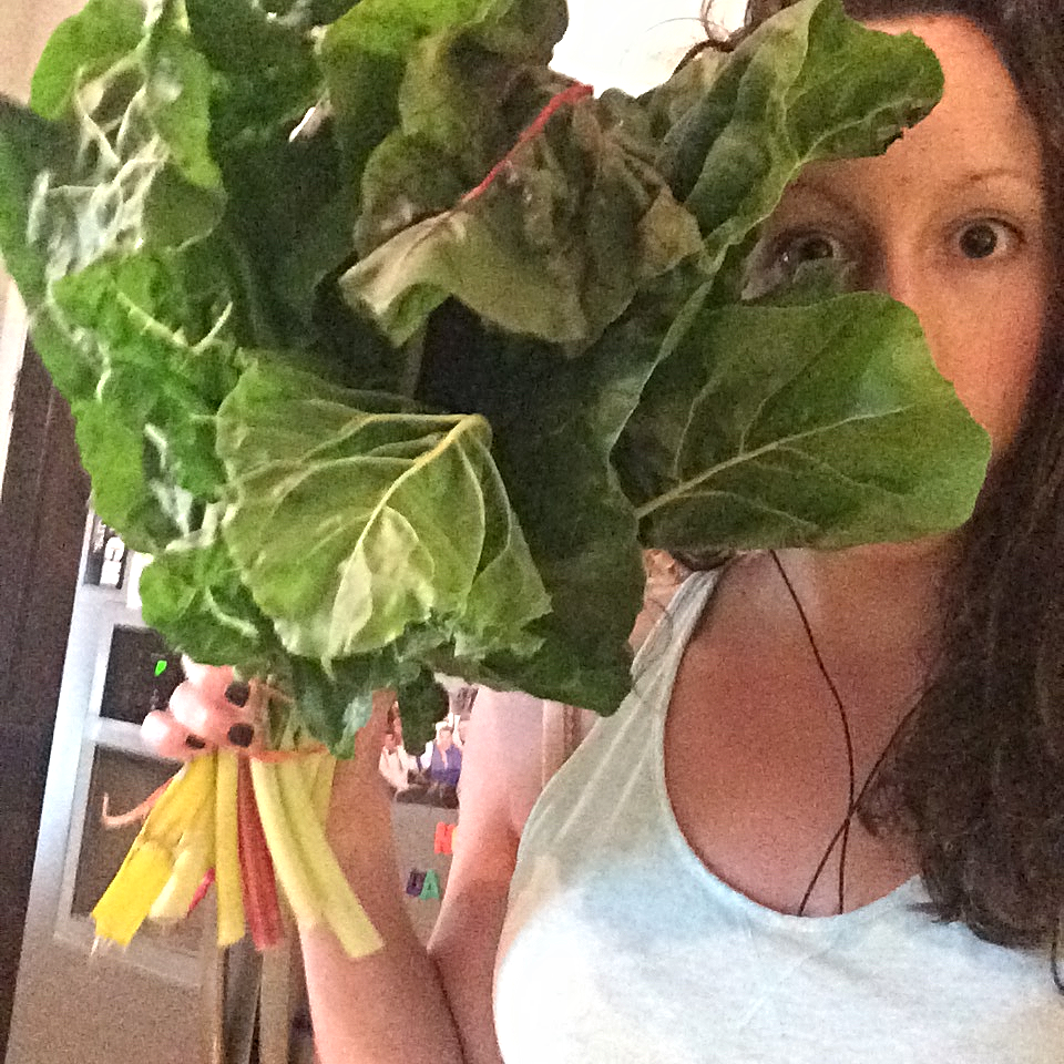 farmers market perk: this literally GIANT bundle of rainbow chard for just three dollars