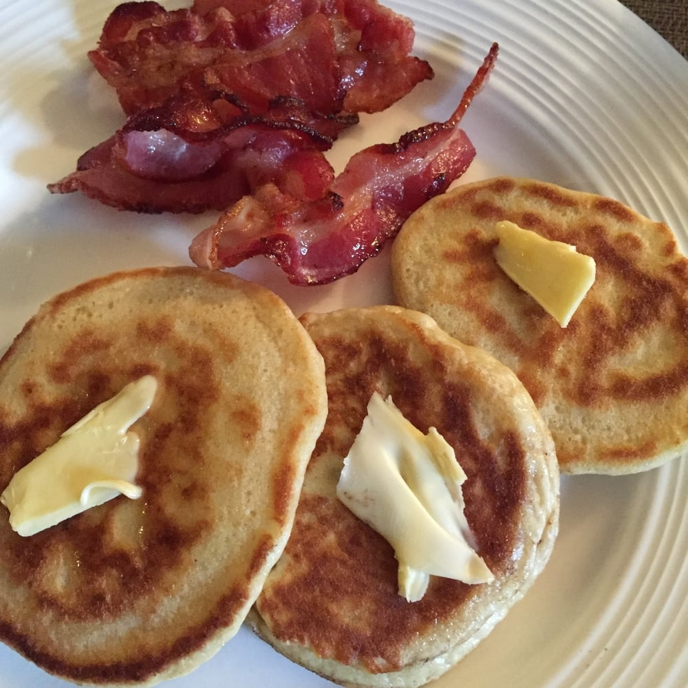 pancakes and bacon. the most delicious breakfast.