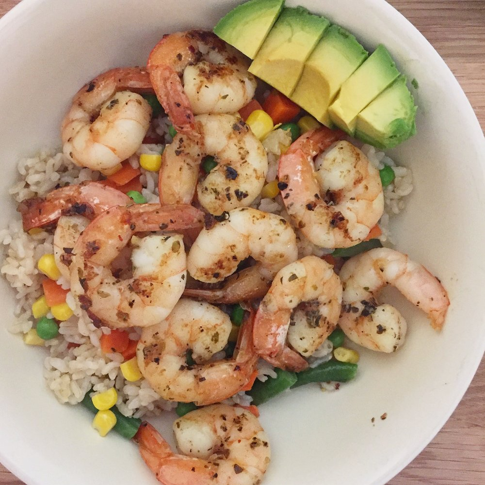 above meal contains: frozen shrimp, frozen brown rice, frozen veg blend