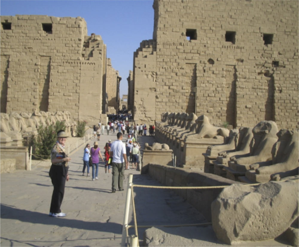 Temple at Luxor and road to temple with sculptured sphinxes