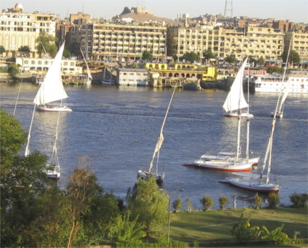 Afternoon view of the Nile from our hotel room at the Movenpick Hotel in Aswan