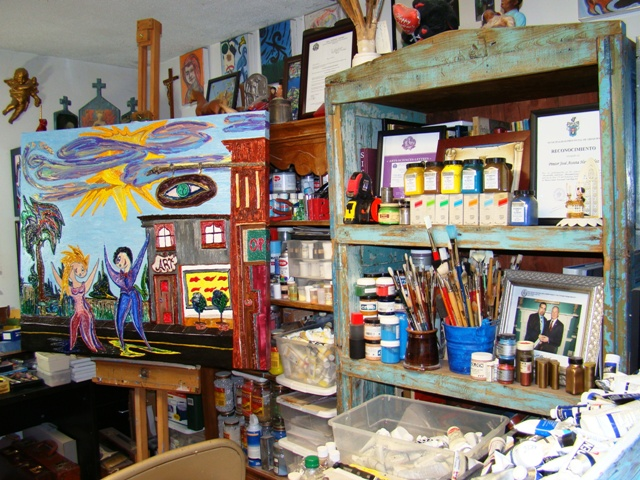 Jose Acosta's art studio