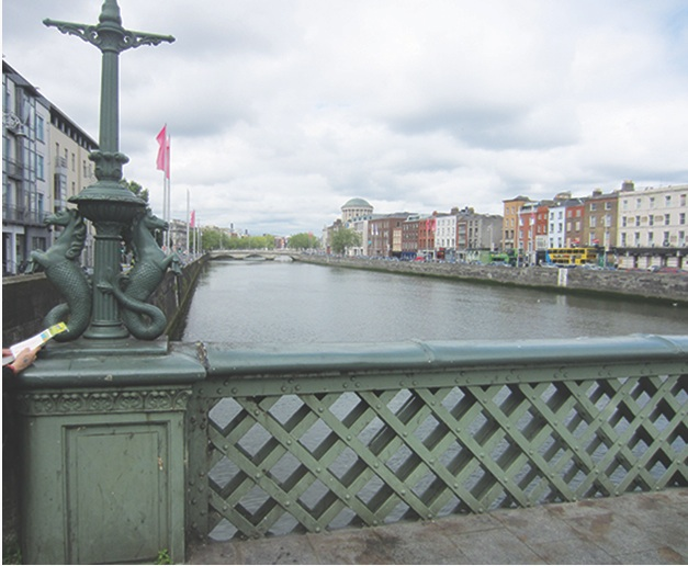 Dublin's Liffey River, with the first Viking settlement in the distance on the left.jpg
