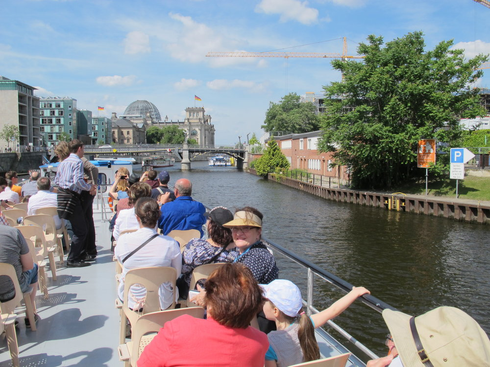 Arlene taking a cruise on the Spree Canal