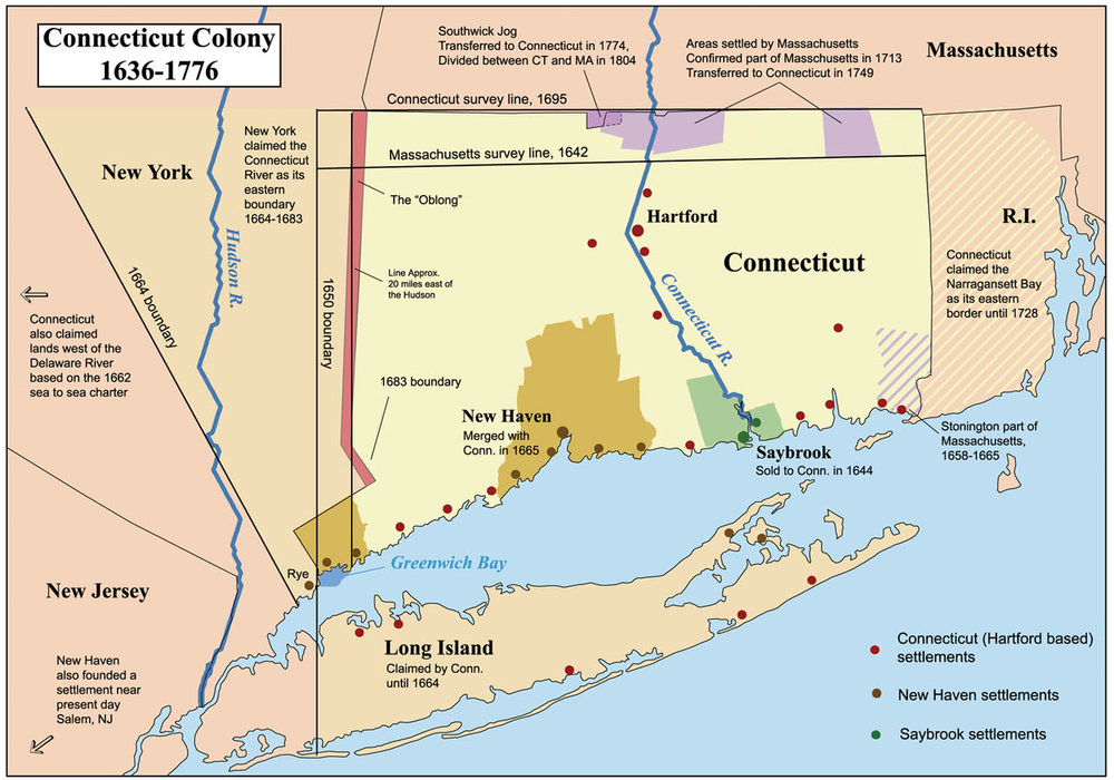 This is a map showing the Connecticut, New Haven, and Saybrook colonies from 1636-1776. It includes the territorial disputes between Connecticut and its neighbors during that time period.      ( Image Courtesy of Creative Commons)