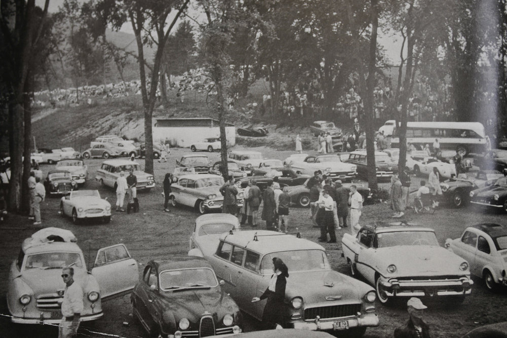 The A Paddock during Lime Rock's early days (late 1950s)
