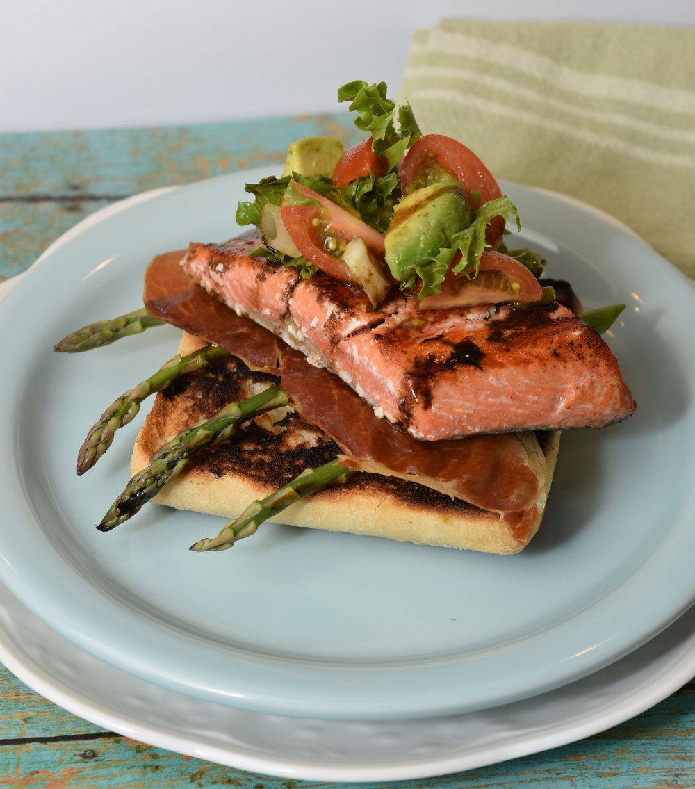 Open Faced Grilled Summer Salmon BLT