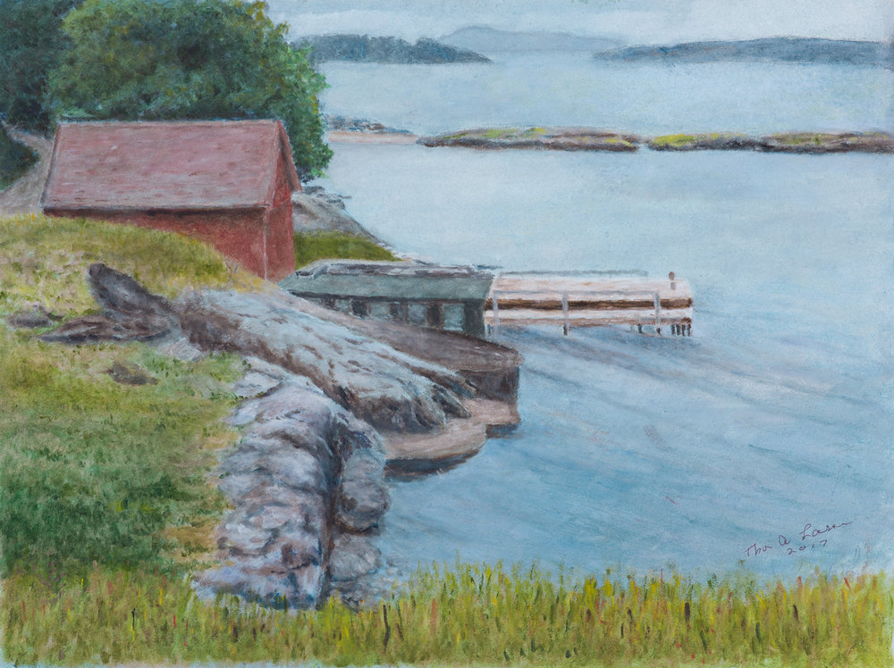 This painting is about the fjord in Norway where Thor used to live.The specific setting is called Godalen and a favorite swimming (cold) spot.