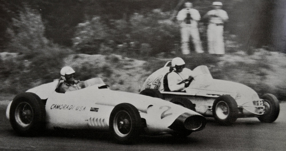 Rodger Ward beating the big-name cars and drivers with a Kurtis-Offy midget, Formula Libre race at Lime Rock Park, 1959. He's passing Chuck Deigh in a Formula 1 Maserati 250F!