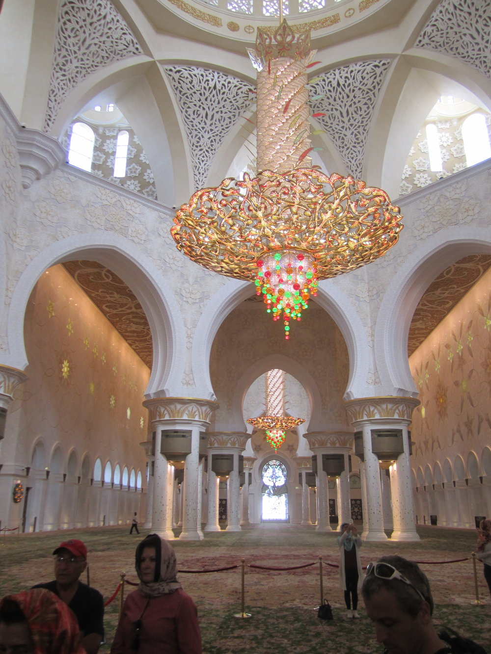 The largest Swarovski crystal chandelier in the world inside the Sheik Zayed Mosque in Abu Dhabi