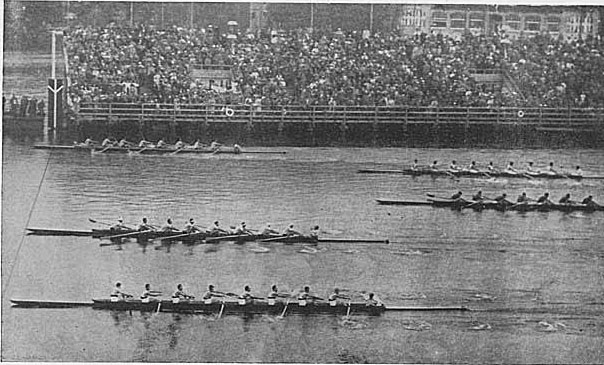 The USA (top, next to the grandstand) upsets the field, winning the gold medal in 8-oared shell rowing at the 1936 Berlin Olympics. Italy (2nd from bottom) won the silver and Germany (bottom) won the bronze.