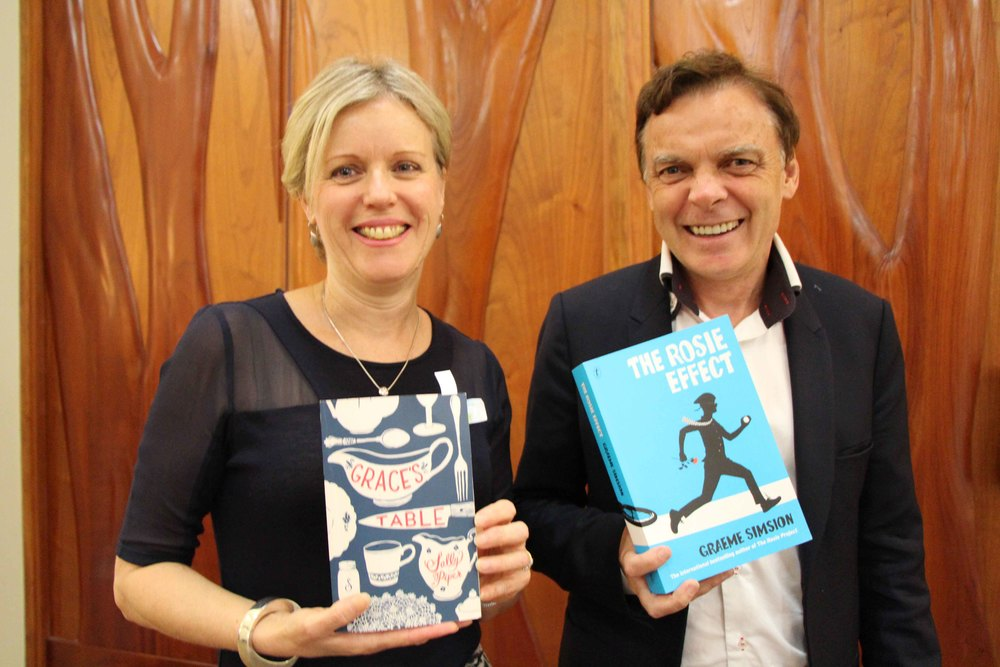 Sally Piper with Graeme Simsion, photo Mark Newman