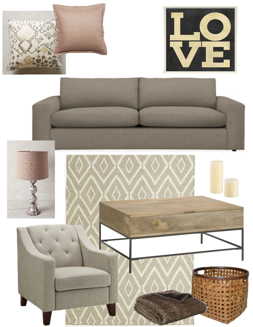 Patterned Pillow / Rose Pillow / LOVE Sign / Couch / Anthropologie Lamp / Candles / Rug / Coffee Table / Tufted Chair / Fur Throw / Basket