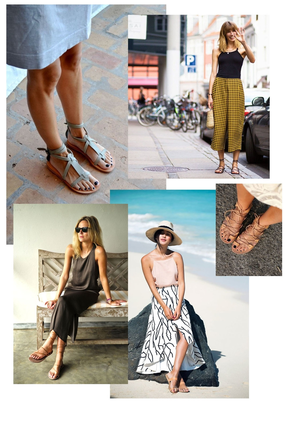gladiator sandals | champagne takeout
