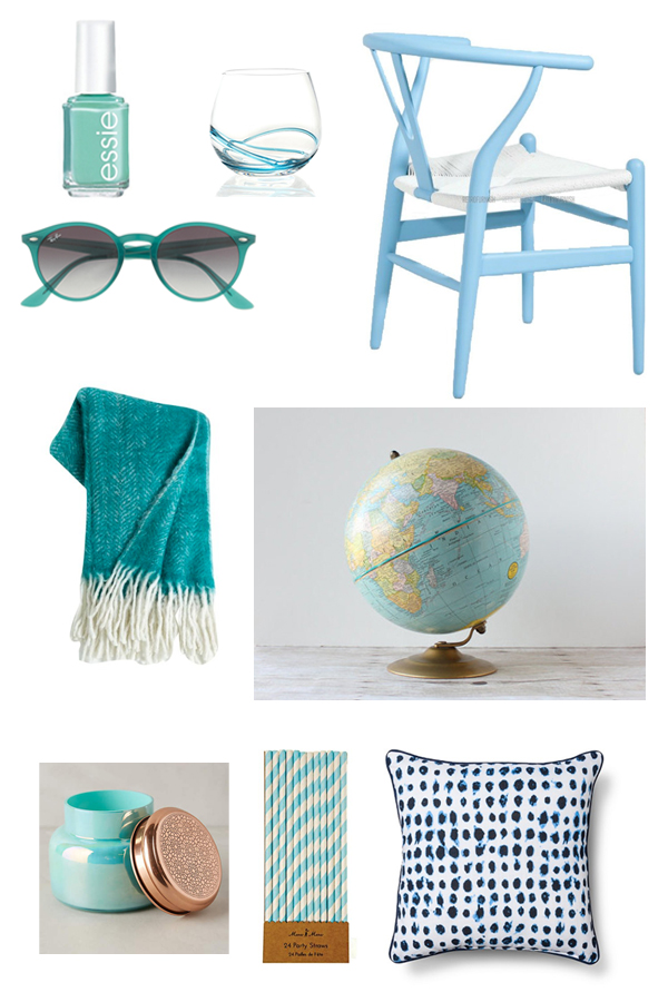 Essie Turquoise & Caicos  - $8.50 |   Wine Glass  - $3.97 |  Ray Ban Sunglasses  - $150 |  Wegner Chair  - $271 |  Throw  - $98 |  Vintage Globe  - $38 |  Candle  - $28 |  Party Straws  - $4.99 |   Pillow  - $27