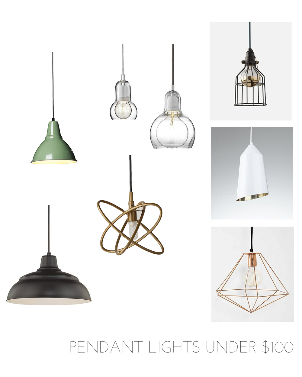 pendant lights under $100 | champagne takeout