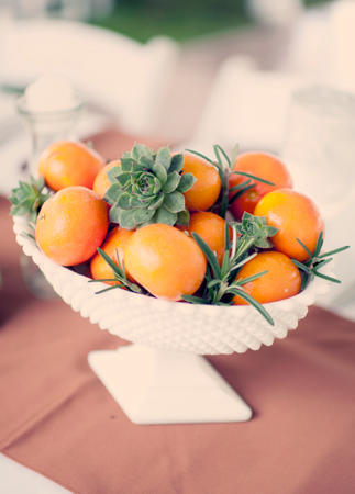milk glass, citrus, and succulents via theknot.com