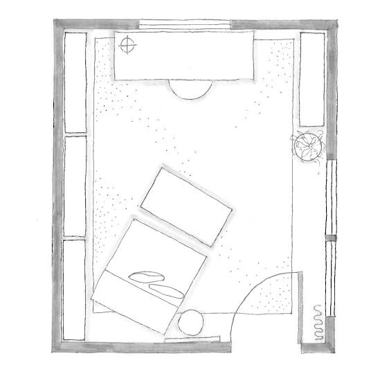 hand-drawn home office floor plan