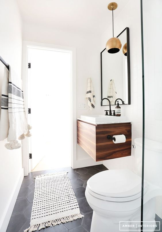 black and white contemporary powder room | elizamcnabb.com