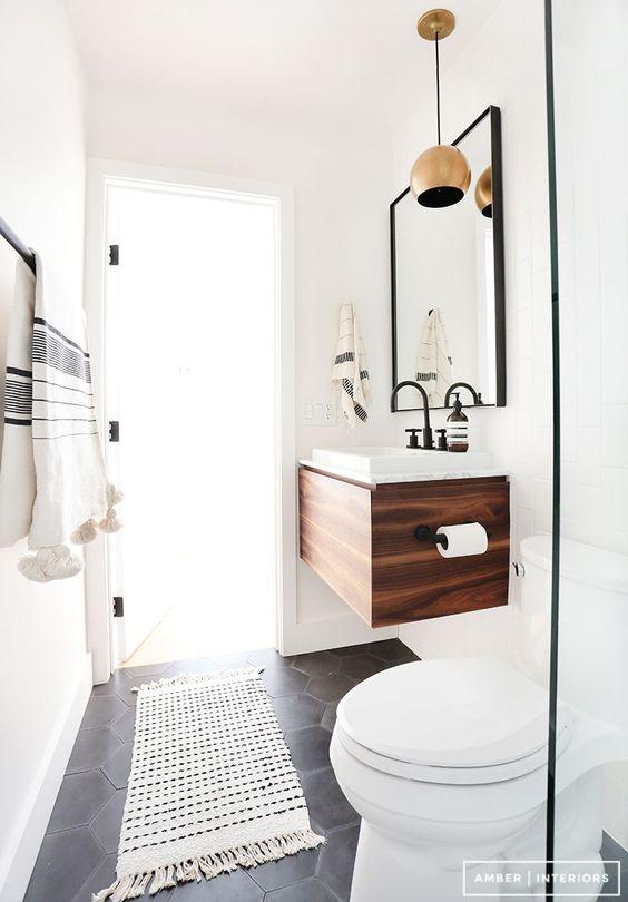black and white contemporary powder room | elizamcnabb.com