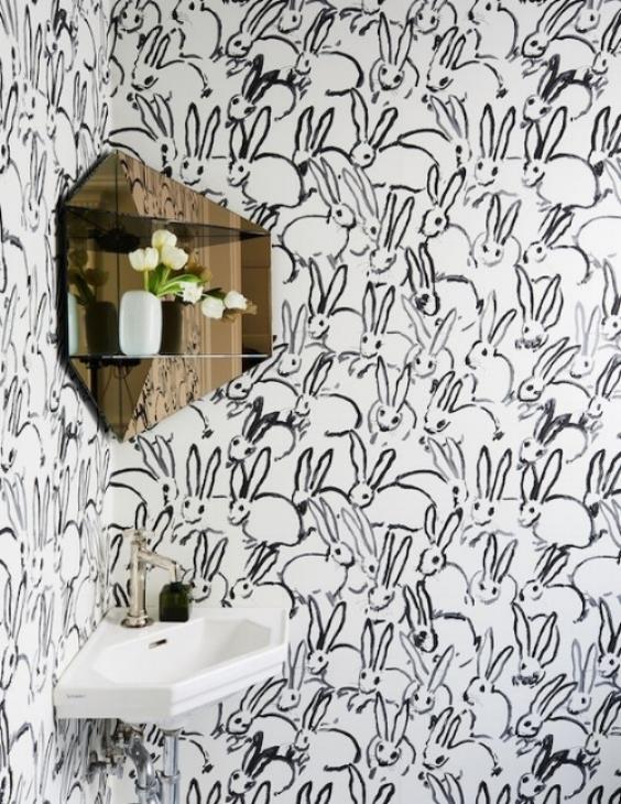 bunny wallpaper powder room | elizamcnabb.com