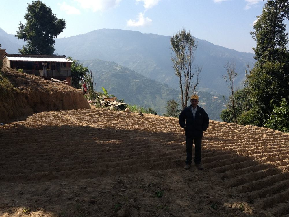 Krishna at his farm in Lauke, Nepal - the site of our Pilot Project in March 2013