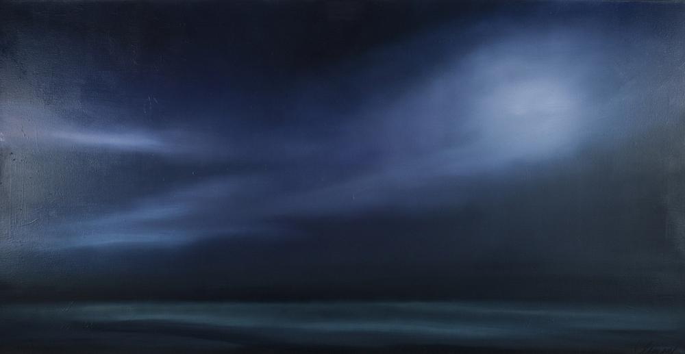 """""""Moon over Plum Island"""" 38.5""""x75"""" Oil on canvas"""