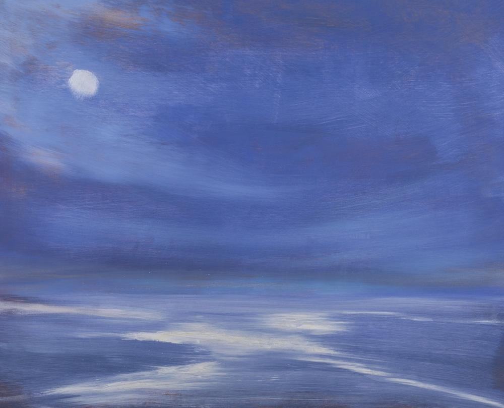 """""""Snow Moon"""" Oil on wood"""
