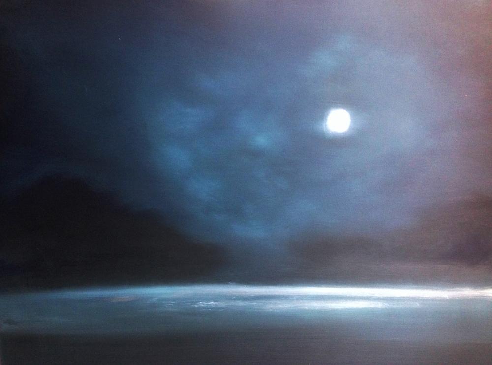 """""""Moonlit Field"""" oil on wood"""