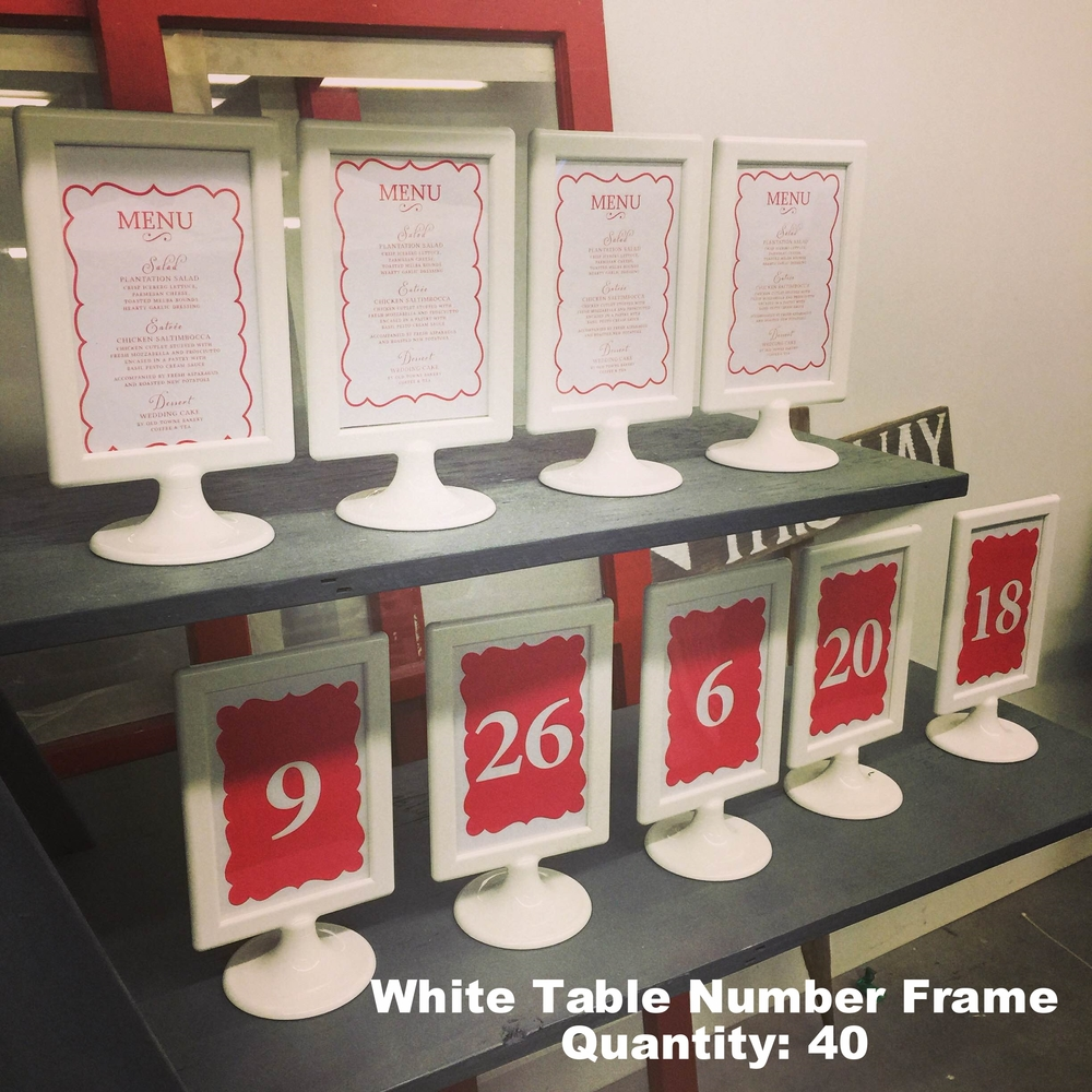 White Table Number Frames