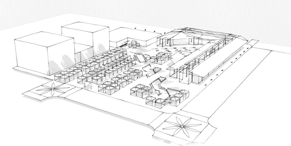 axonometric view of Eugene Farmers' Market design