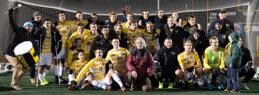 The UW-Oshkosh men's soccer team celebrates their 2014 conference championship. In thirty-one seasons they have competed in thirteen NCAA tournaments, reached the Final Four four times, with a total record of 412-118-52. Due to budget constraints their program is scheduled be cut after the fiscal year of 2016.