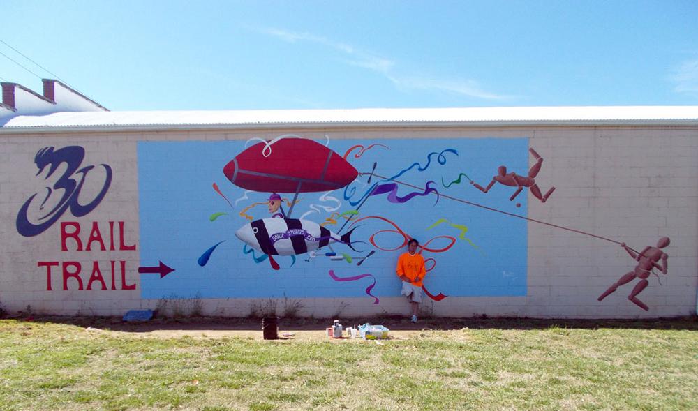 Bike Worx mural at the Rail Trail.