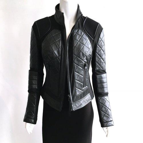 Blanc Noir Moto Mesh Jacket Leather Neo Mesh