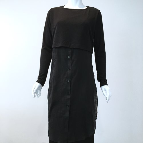 Hyde Park And Lune Layered Button Down Sweater Dress Black No