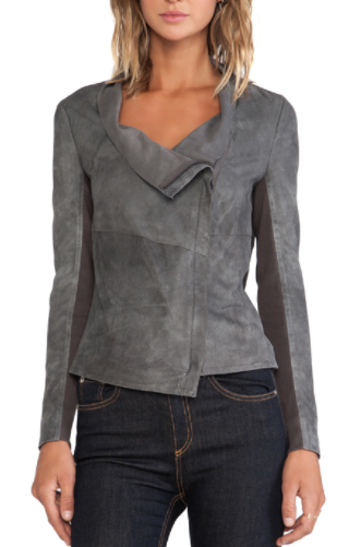 suede image cyan jackets jacket drapes muubaa alexis in draped drape