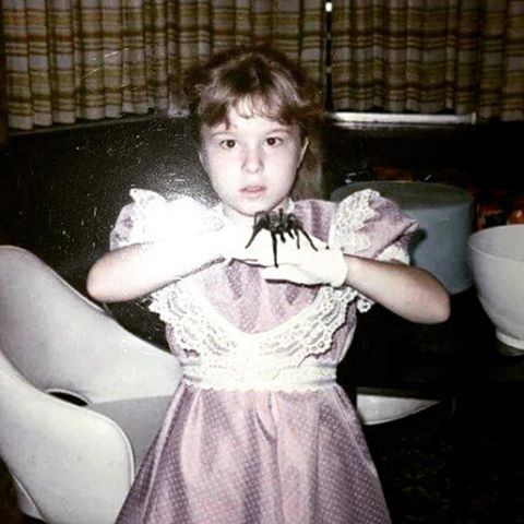 #tbt to my favorite photo of myself of all time.  My mom made that dress and I picked out that outfit, right down to the gloves and white patent leather shoes and lacey ankle socks you cannot see.  The spider was my pet for 3 years. Tarantulas make surprisingly good house pets.  #lookedlikeLillieMunster #InsideallWednesdayAdams #spiderlove #sorryChloe #butnotthatsorry