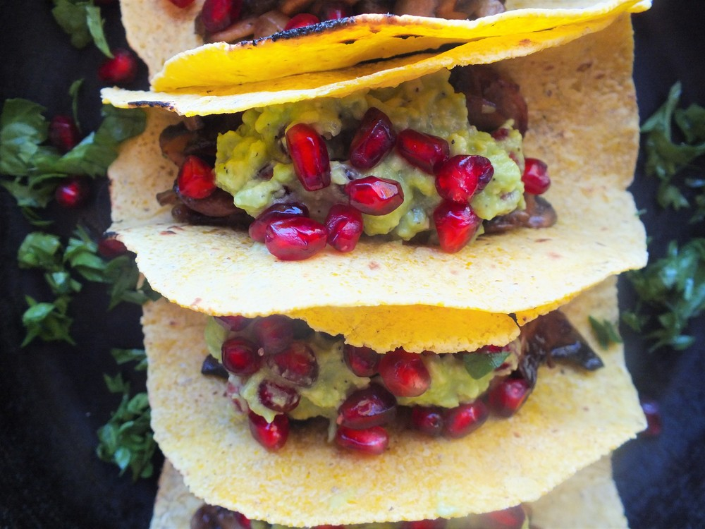Fig Balsamic Mushroom Tacos with Pomegranate Guacamole