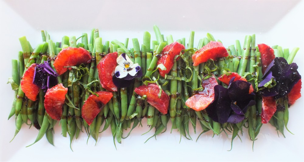 French Beans with Blood Orange Drizzle and Organic Pansies