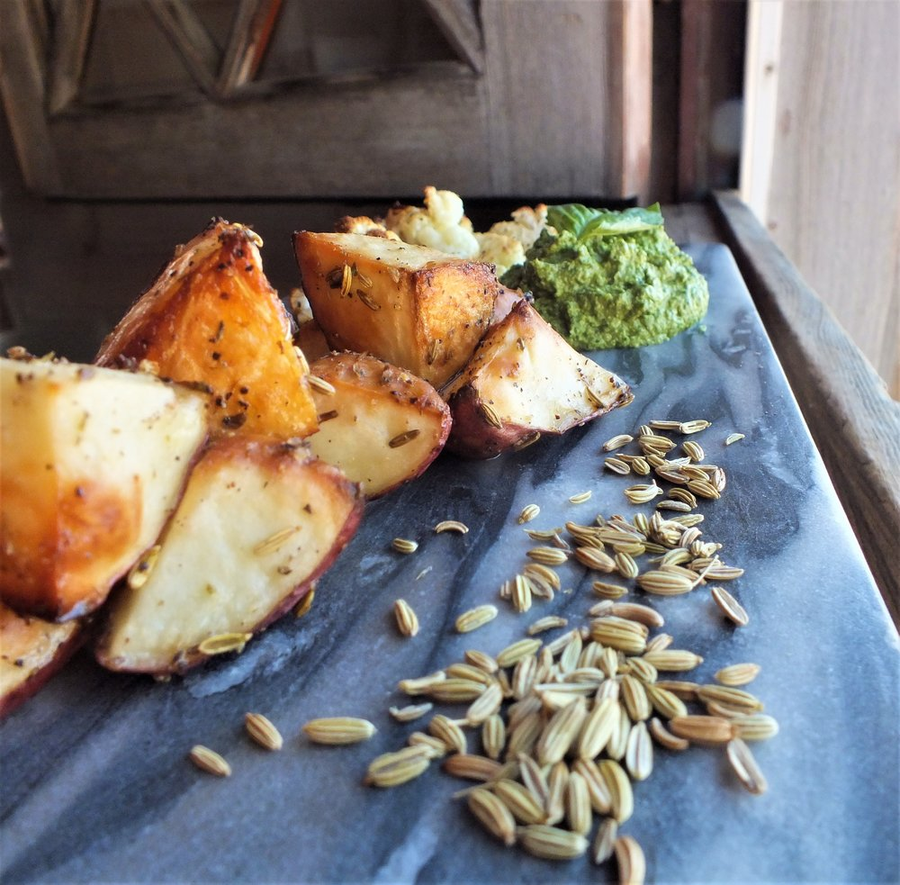 Golden Roasted Fennel Potatoes, Browned Cauliflower and Garden Pesto