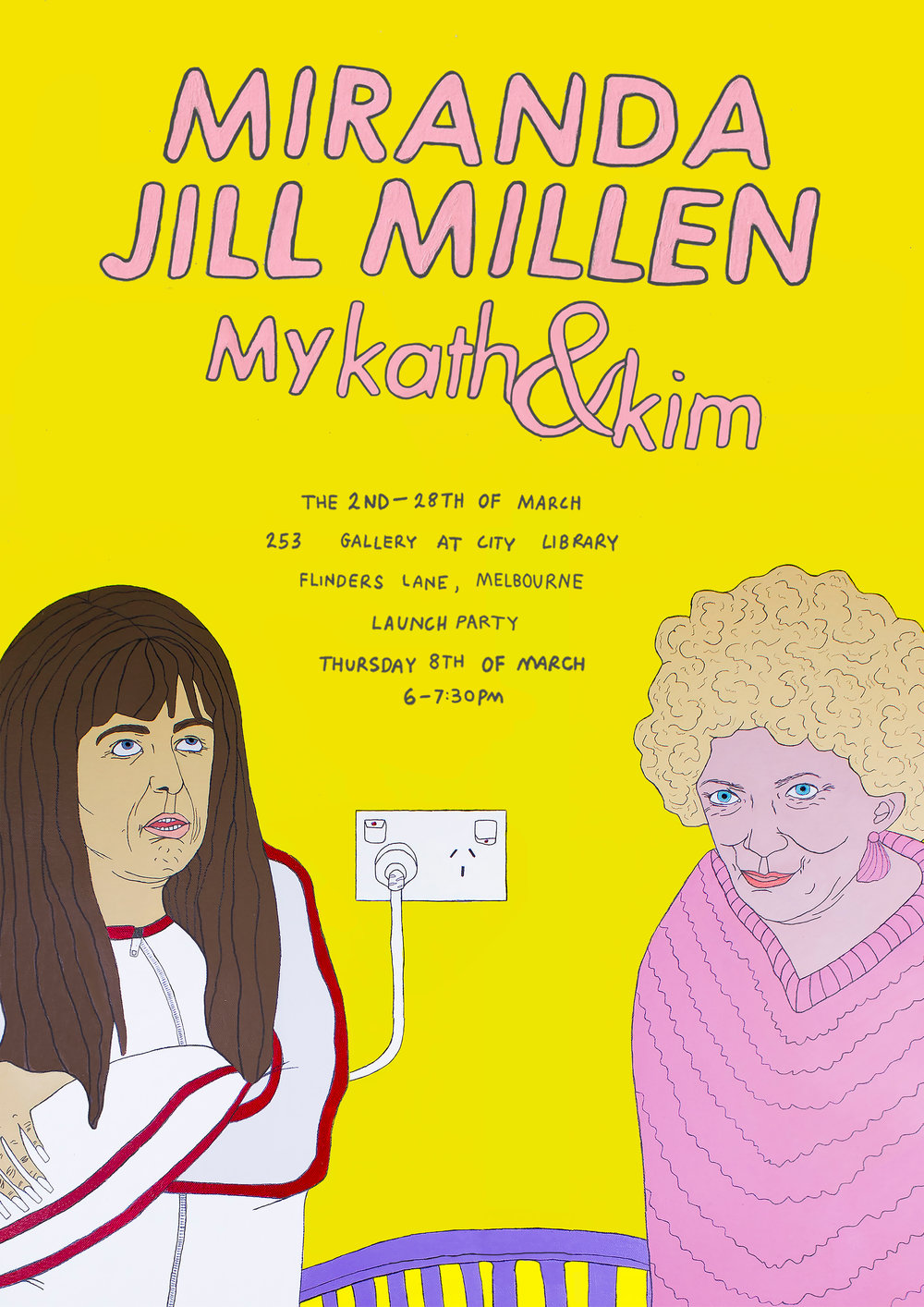 In celebration of one of the most iconic television programs in Australia, Miranda Jill Millen welcomes you to her solo exhibition 'Miranda Jill Millen: My Kath & Kim'. Through a mixture of paintings and ceramic sculptures Miranda pursues her childhood nostalgia, and rejoices in the parody of iconic Australian culture. An event not to be missed and with a kardonnay in hand, a footy frank in the other, and exhibition that is bound to be very noice, different and unusual.