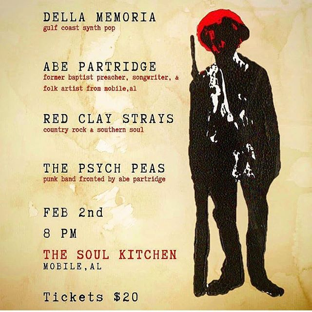 ON THE BOOKS! Feb. 2nd is a show you will NOT want to miss. We will be playing at @soulkitchenmobile with @the_red_clay_strays and @abepartridge who just returned from his European tour. His killer side project, The Psychedelic Peacocks, will be playing as well. Keep your eyes peeled for tickets online as I'm sure this one will sell out early. 🙌🏻