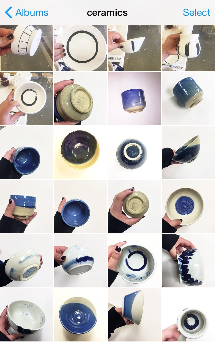 One of several pages in my cell phone camera albums dedicated to blue & white wares. This page in particular is work that I've made this term, mostly pigment and decor experiments.