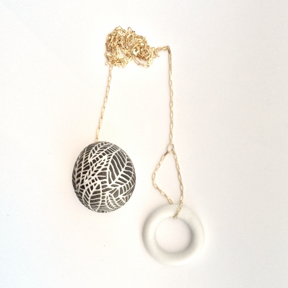 Porcelain Egg + Loop Sgraffito Necklace