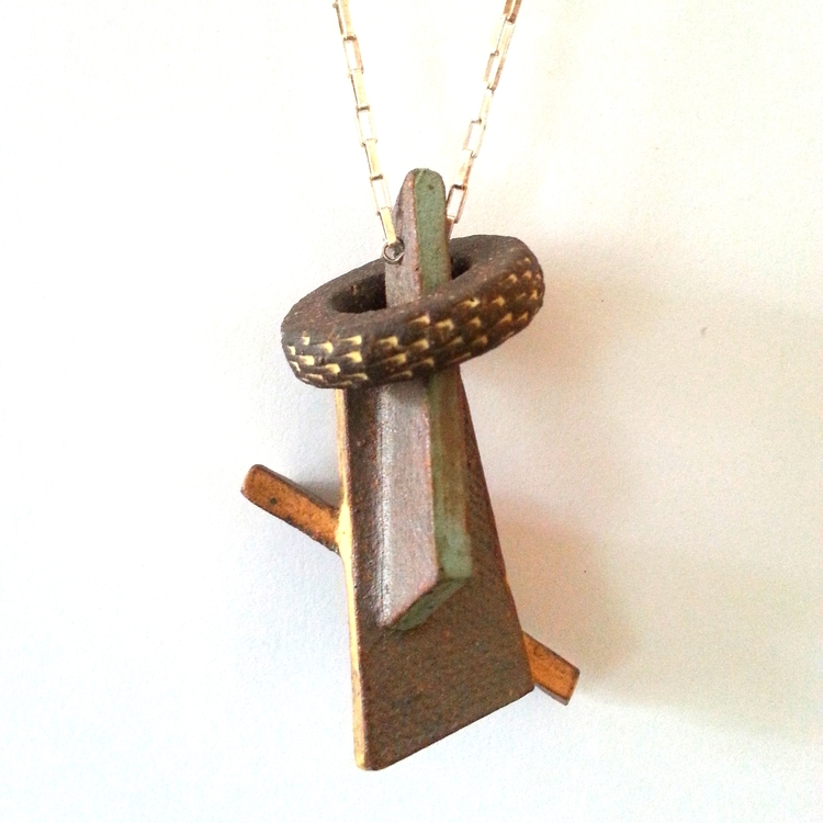 Stoneware Loop + Slab Necklace